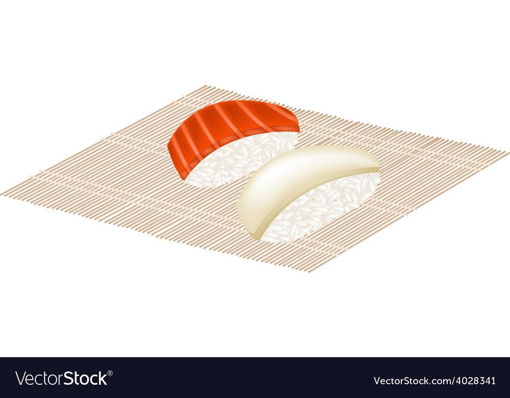 Salmon nigiri and squid nigiri on bamboo mat vector | Price: 1 Credit (USD $1)