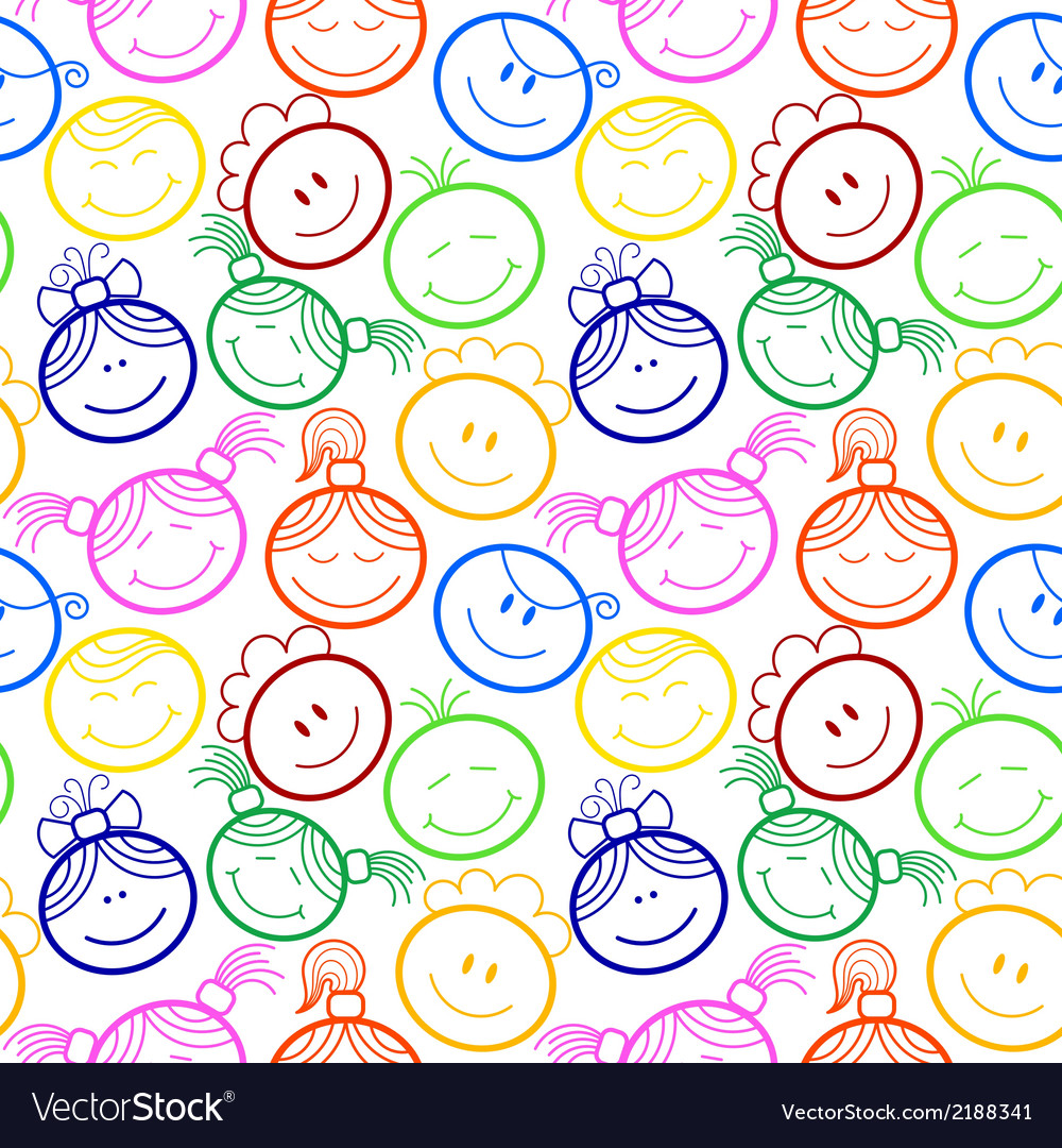 Seamless pattern with childrens faces vector | Price: 1 Credit (USD $1)