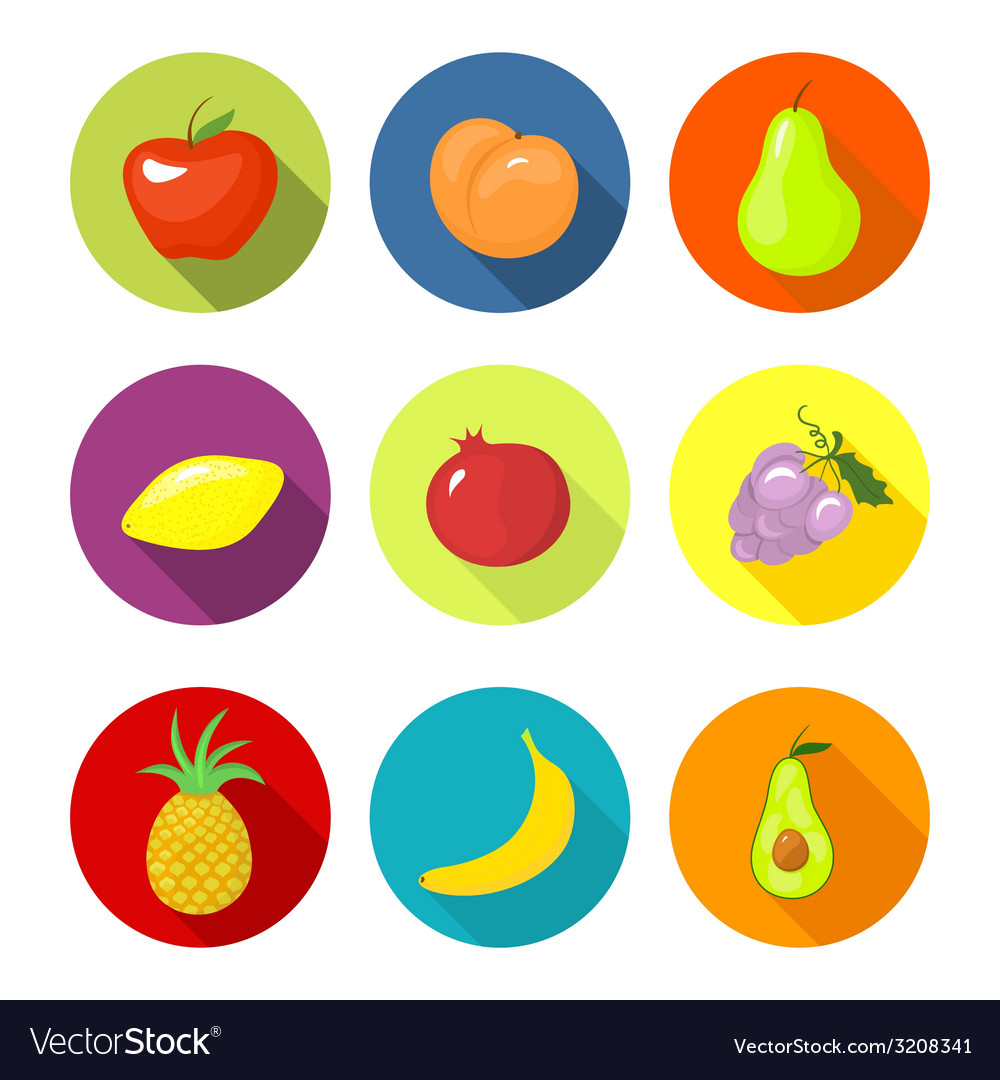 Set round icons with fruit vector | Price: 1 Credit (USD $1)