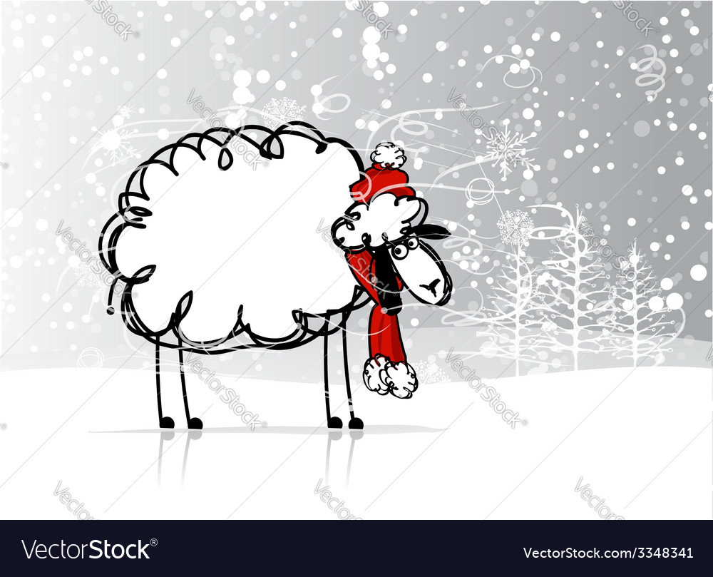 Sheep santa in forest symbol of new year 2015 vector | Price: 1 Credit (USD $1)