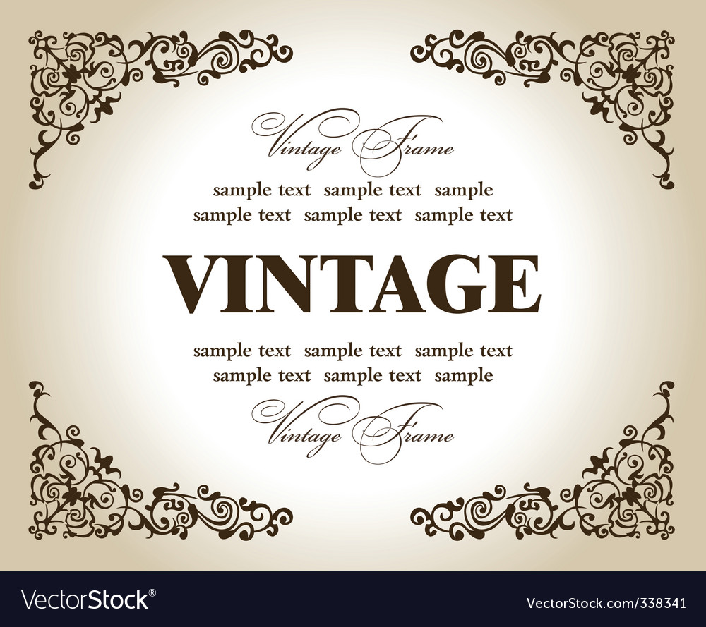 Vintage flower frame vector | Price: 1 Credit (USD $1)