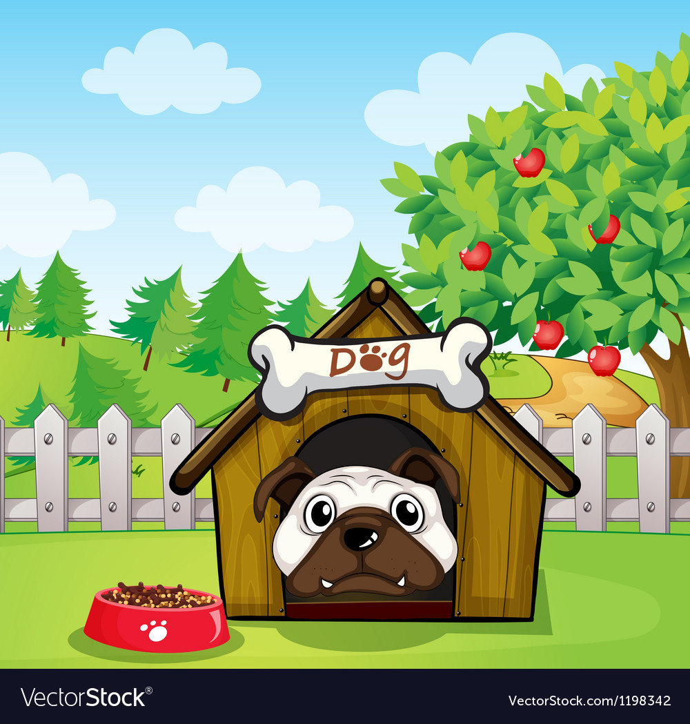 A dog inside a dog house vector | Price: 1 Credit (USD $1)