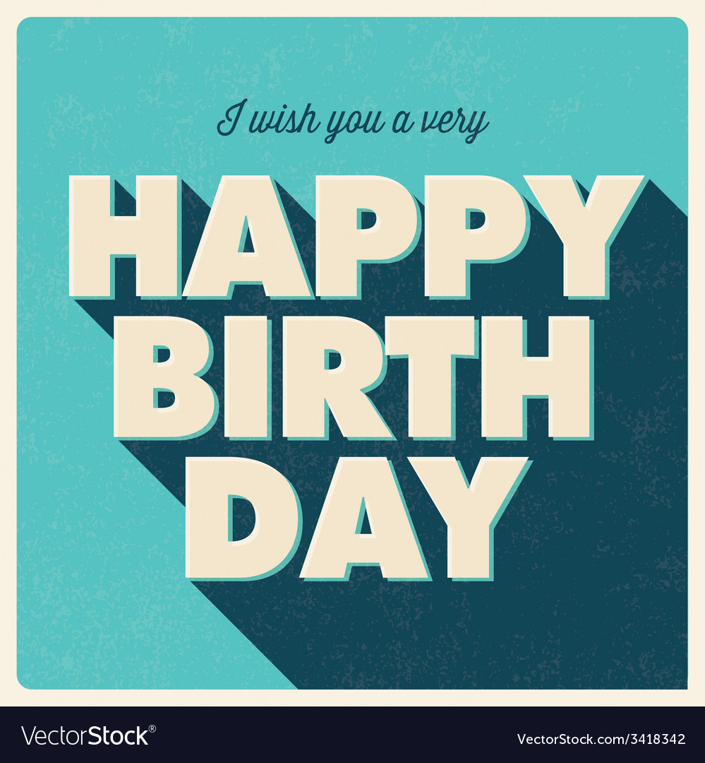 Birthday card retro design blue vector | Price: 1 Credit (USD $1)