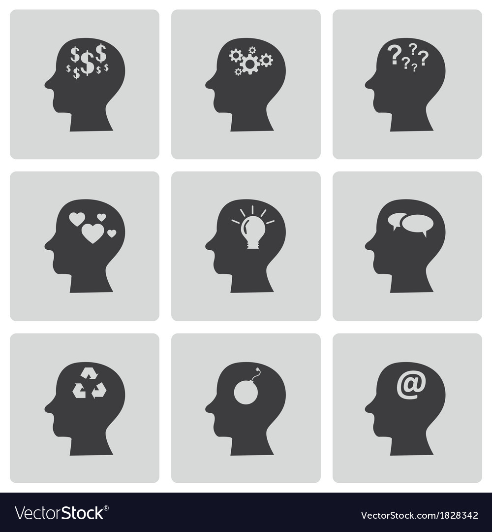 Black thoughts icons set vector | Price: 1 Credit (USD $1)