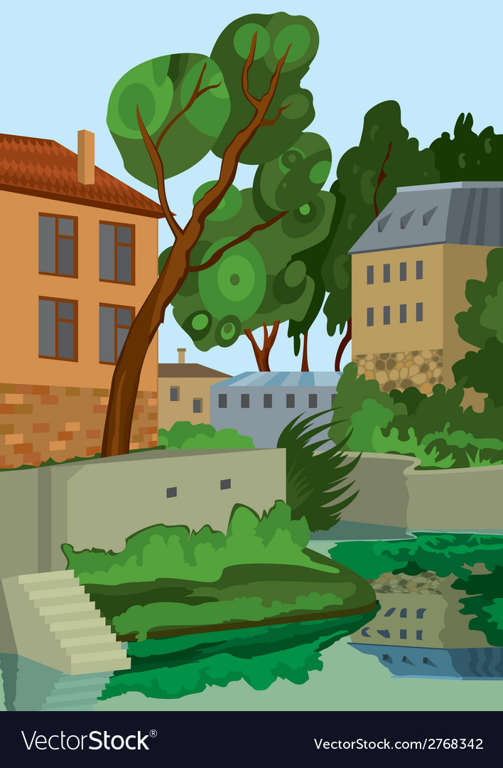 Cartoon buildings near the lake vector | Price: 1 Credit (USD $1)
