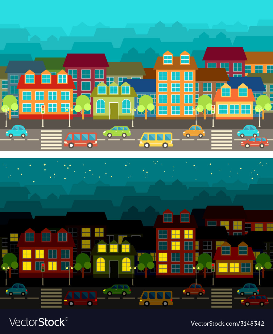 City in the style of flat design vector | Price: 1 Credit (USD $1)