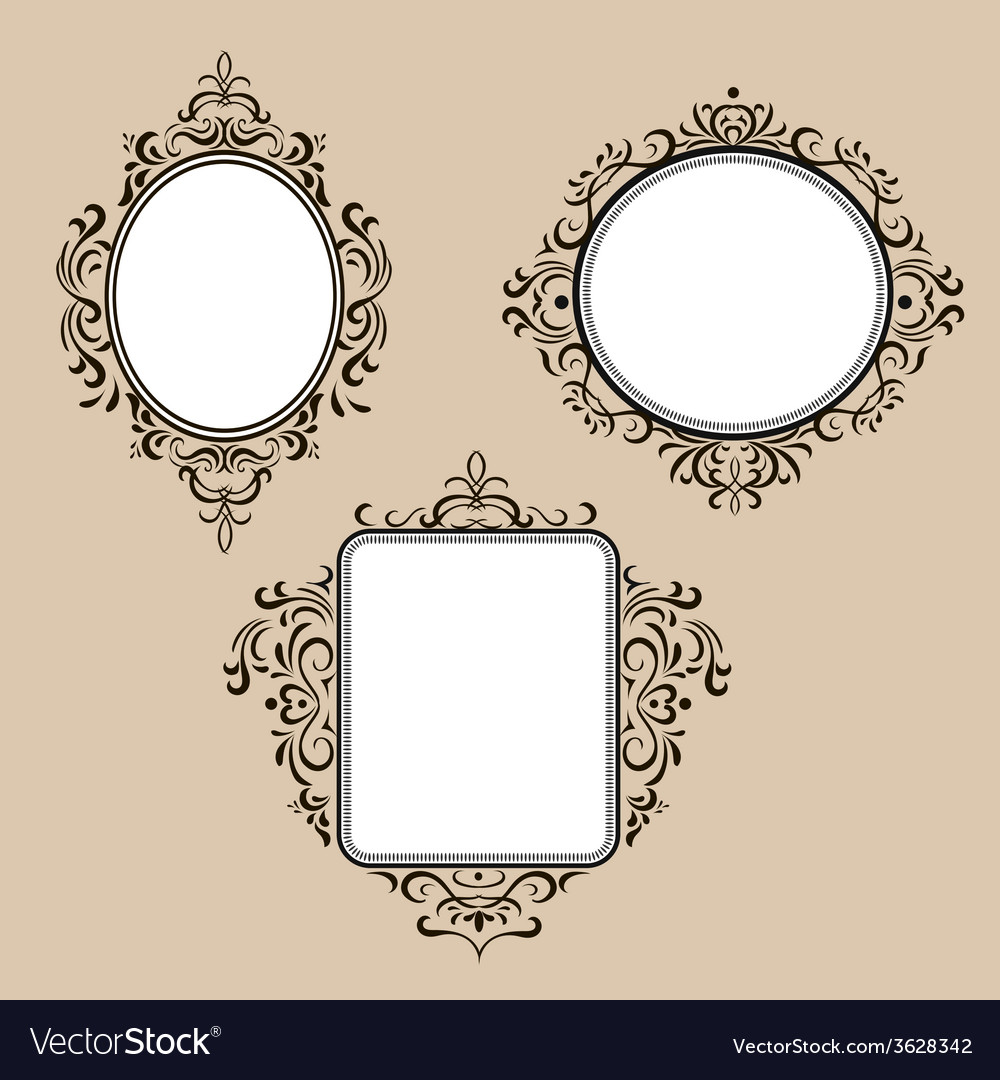 Collection of frames in retro style vector | Price: 1 Credit (USD $1)