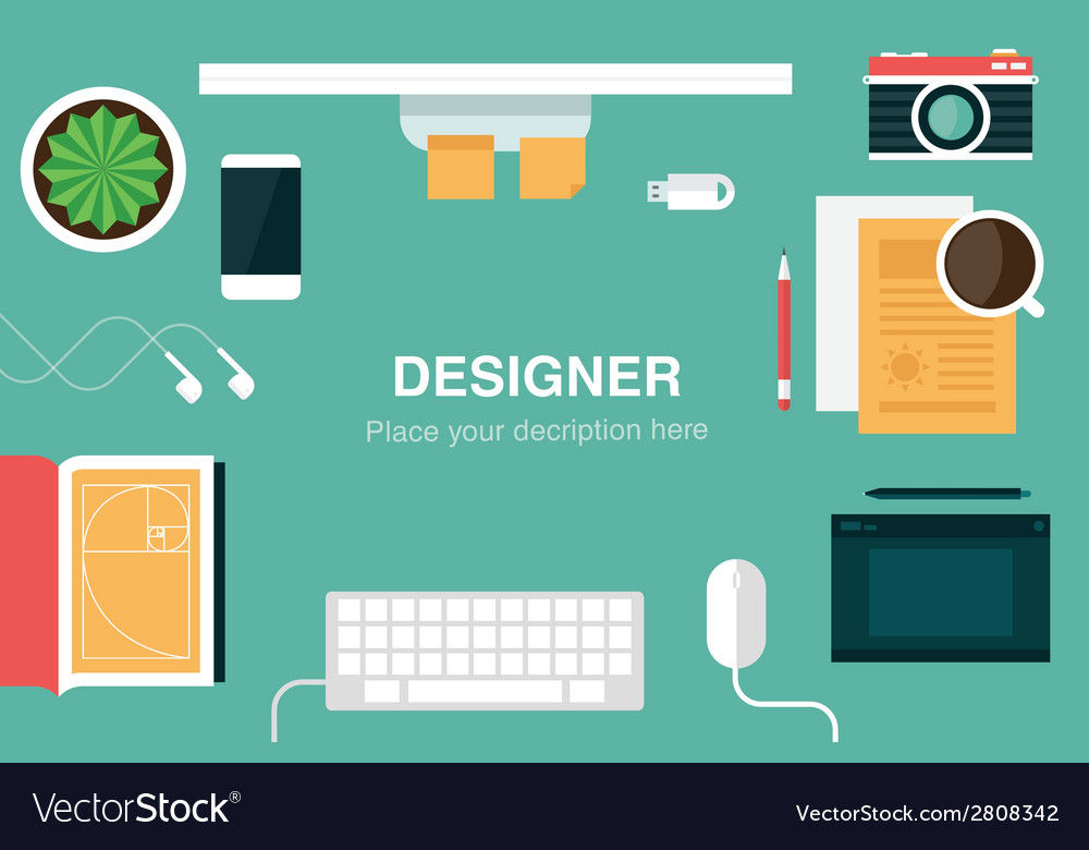 Designer desk header vector | Price: 1 Credit (USD $1)