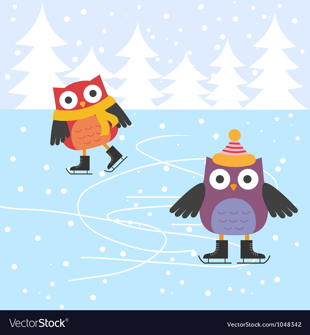 Ice skating cute owls vector | Price: 1 Credit (USD $1)