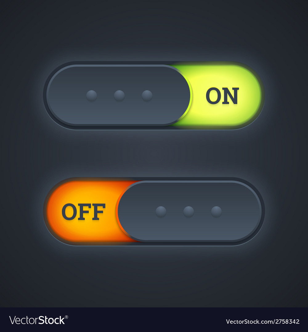 On and off switch toggle buttons vector | Price: 1 Credit (USD $1)