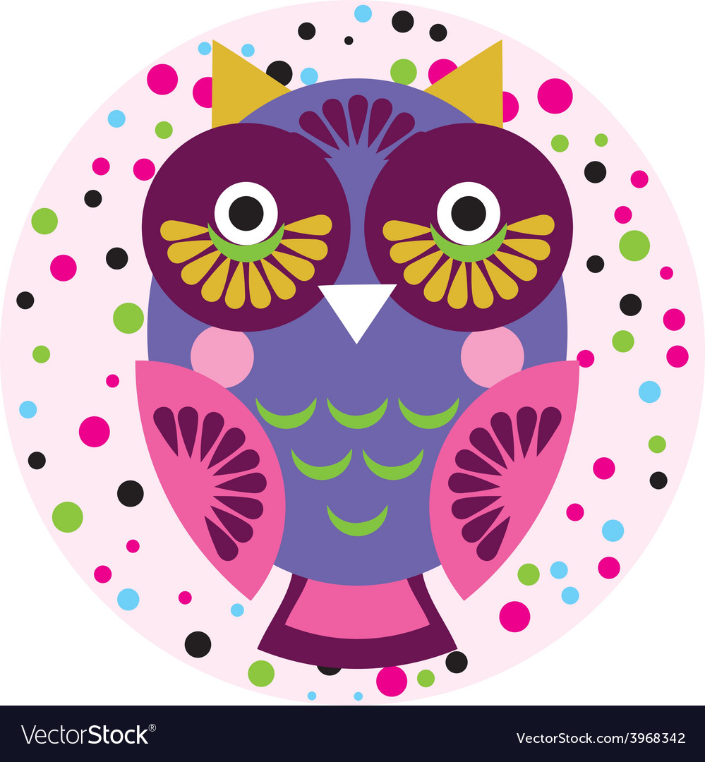 Owl on a pink background in colored polka dots vector | Price: 1 Credit (USD $1)