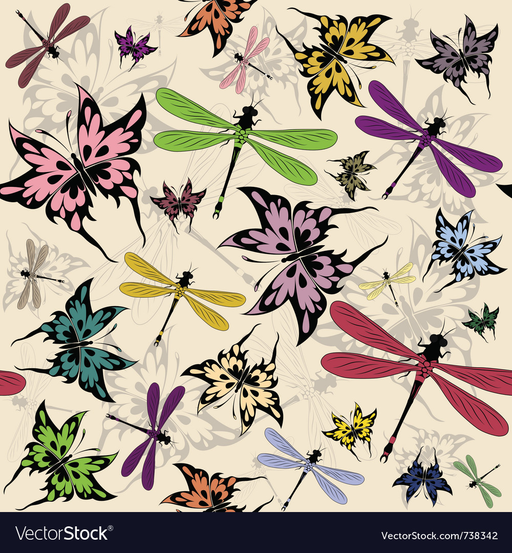 Seamless butterflies and dragonflies vector | Price: 1 Credit (USD $1)