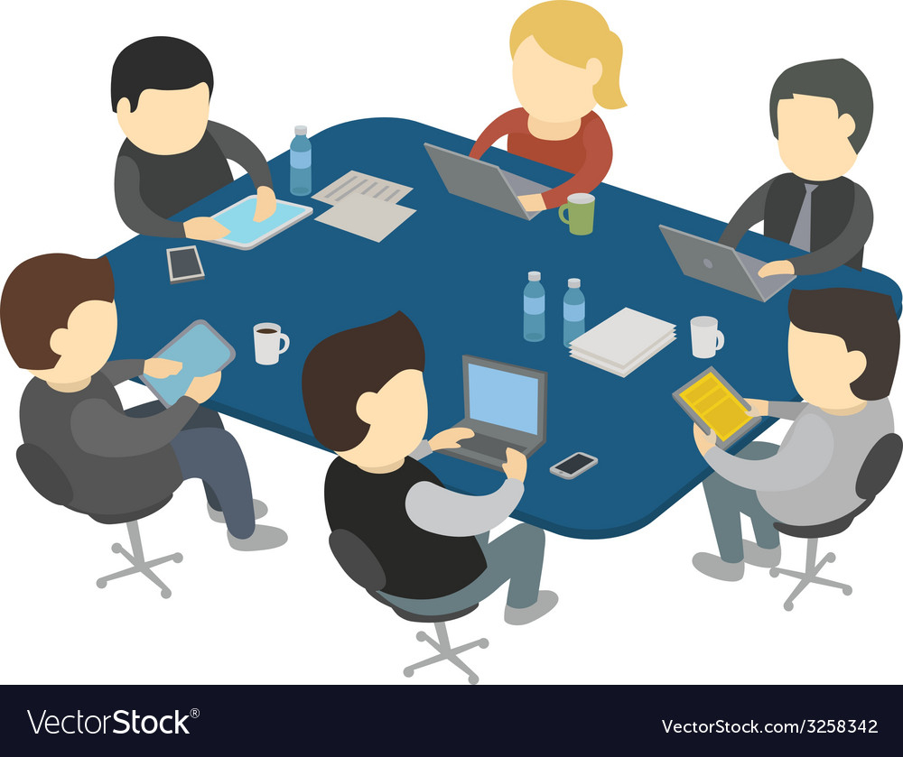 Six people work vector | Price: 1 Credit (USD $1)