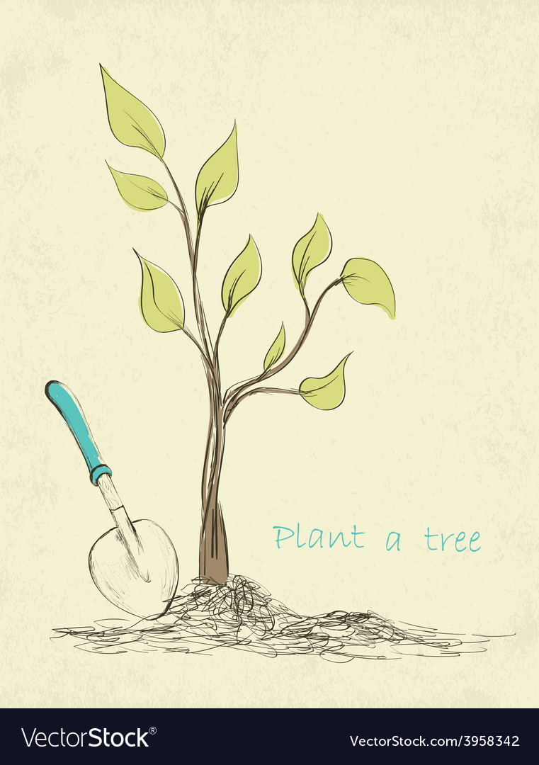 Tree planting vector | Price: 1 Credit (USD $1)