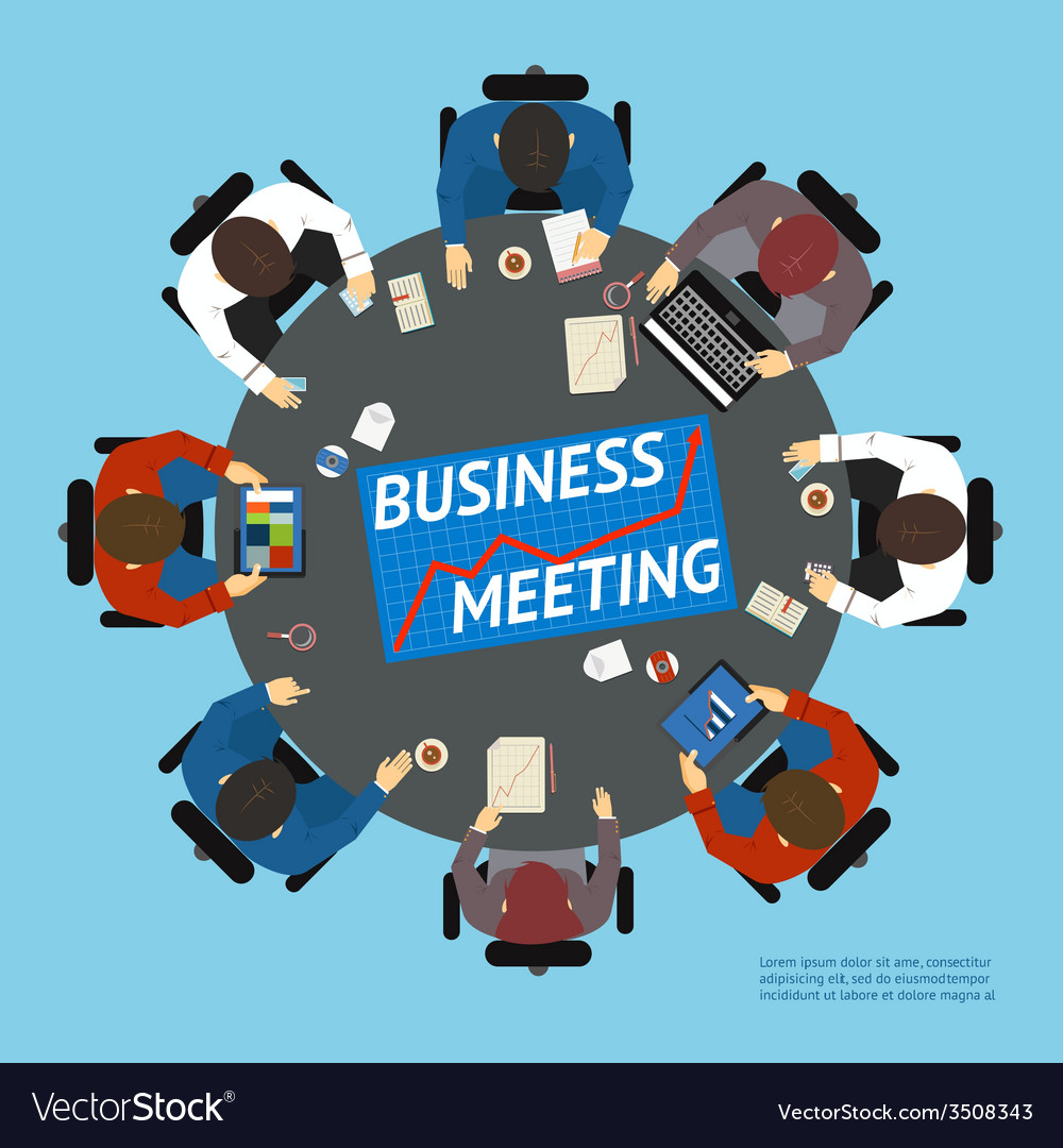 Business people at a negotiating table vector | Price: 1 Credit (USD $1)