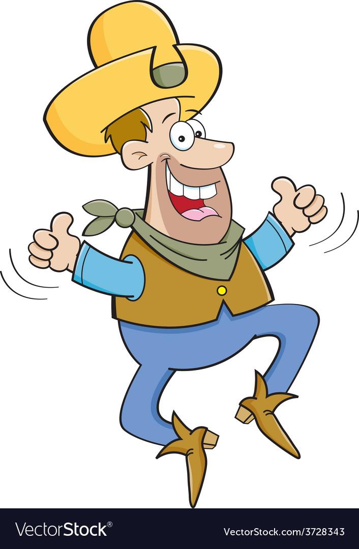 Cartoon cowboy jumping vector | Price: 1 Credit (USD $1)