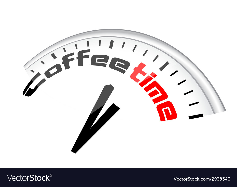 Clock coffee time vector | Price: 1 Credit (USD $1)
