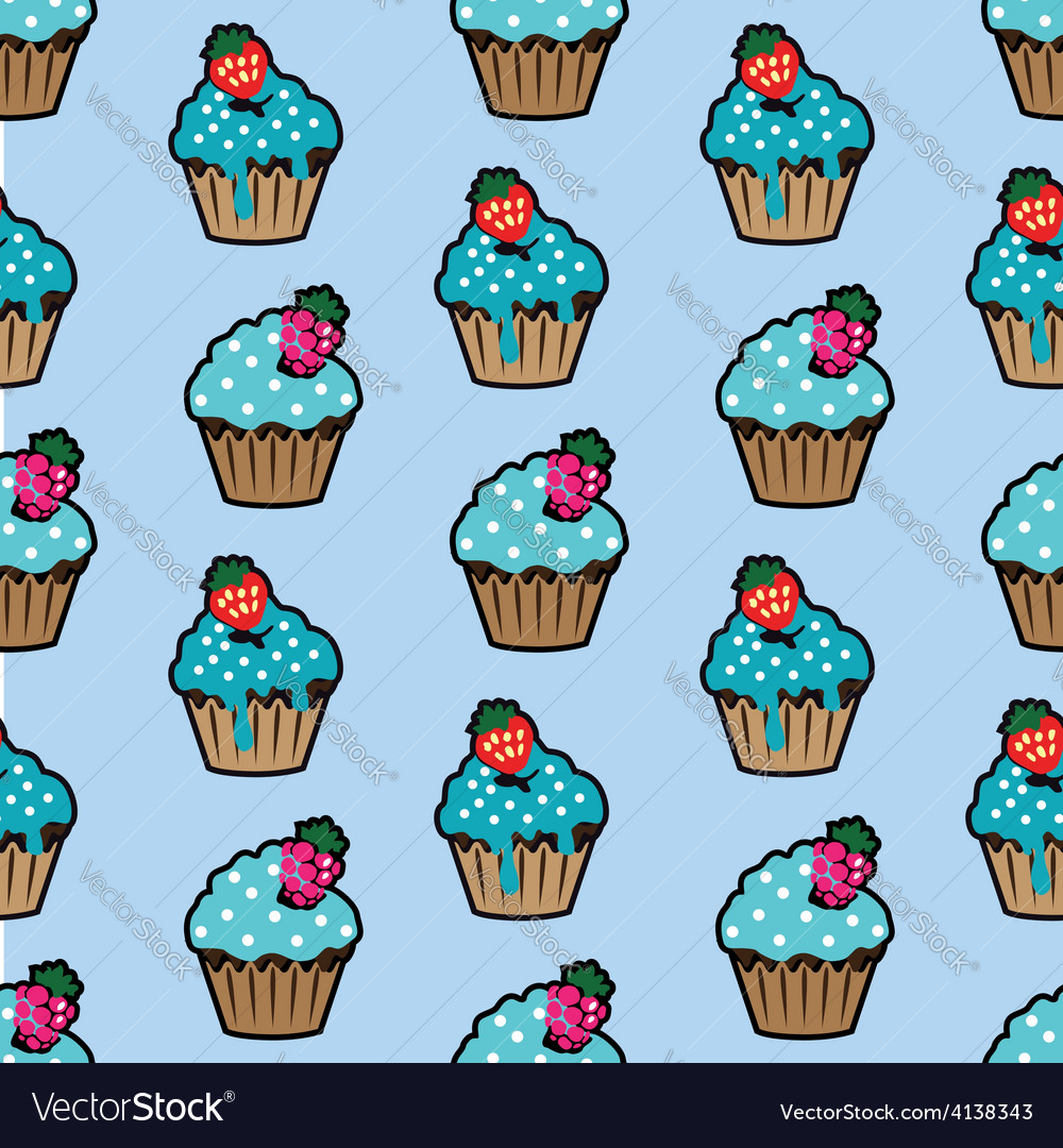 Cream cake blue seamless pattern vector | Price: 1 Credit (USD $1)