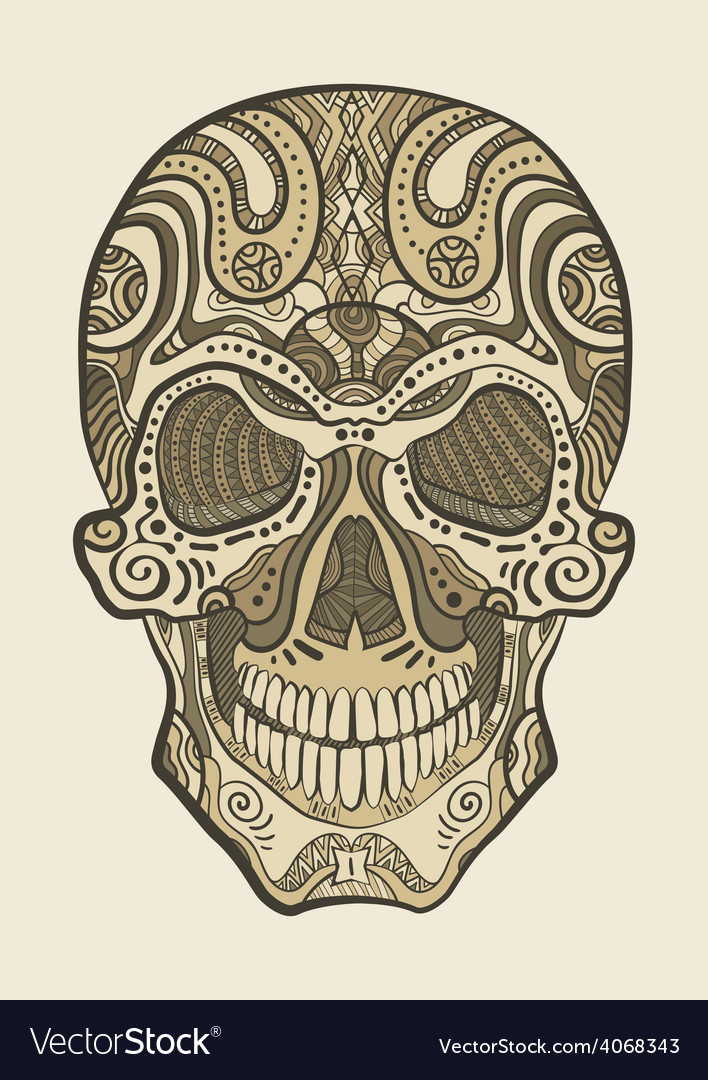Decorative isolated human skull vector   Price: 1 Credit (USD $1)