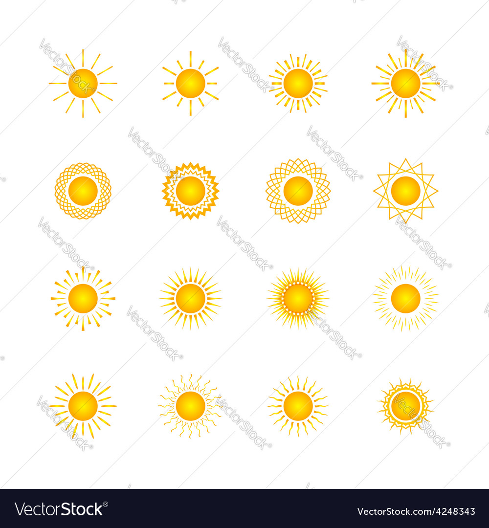 Set of different images of the sun vector | Price: 1 Credit (USD $1)