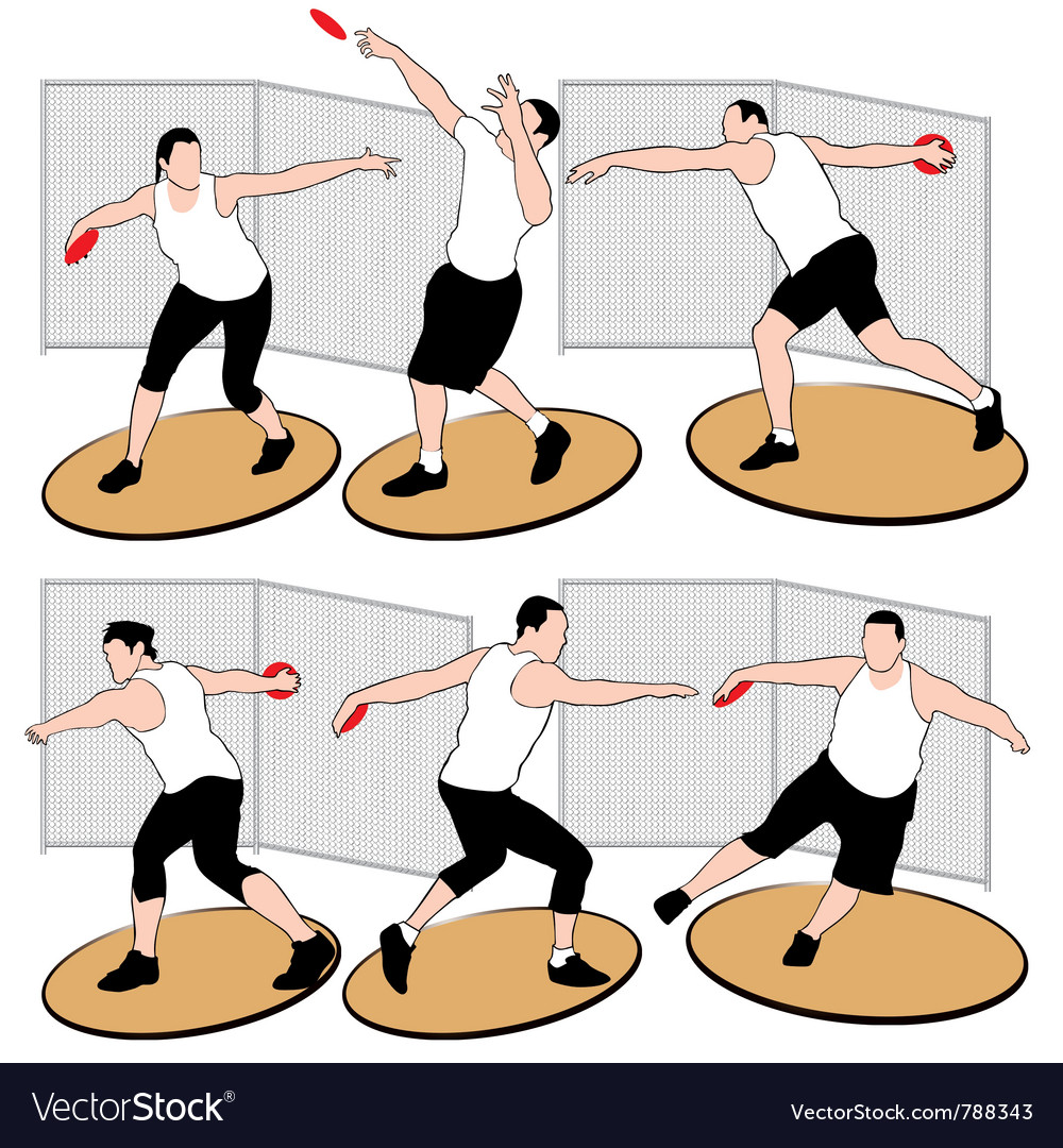 Set of discus throwing athletes vector | Price: 1 Credit (USD $1)