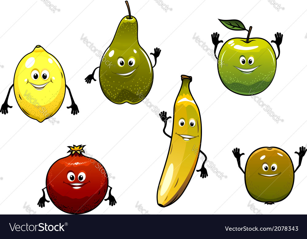 Set of happy fresh cartoon fruits vector | Price: 1 Credit (USD $1)