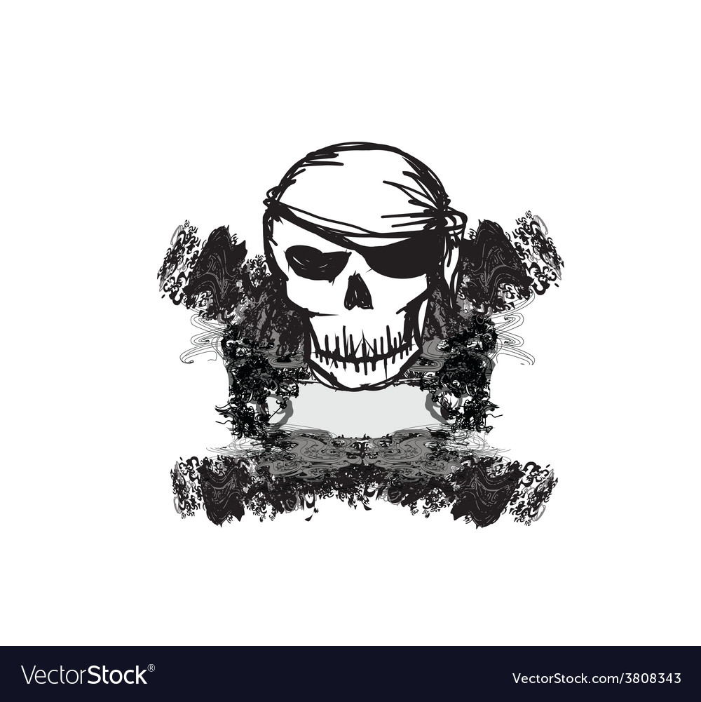 Skull pirate - retro card vector | Price: 1 Credit (USD $1)