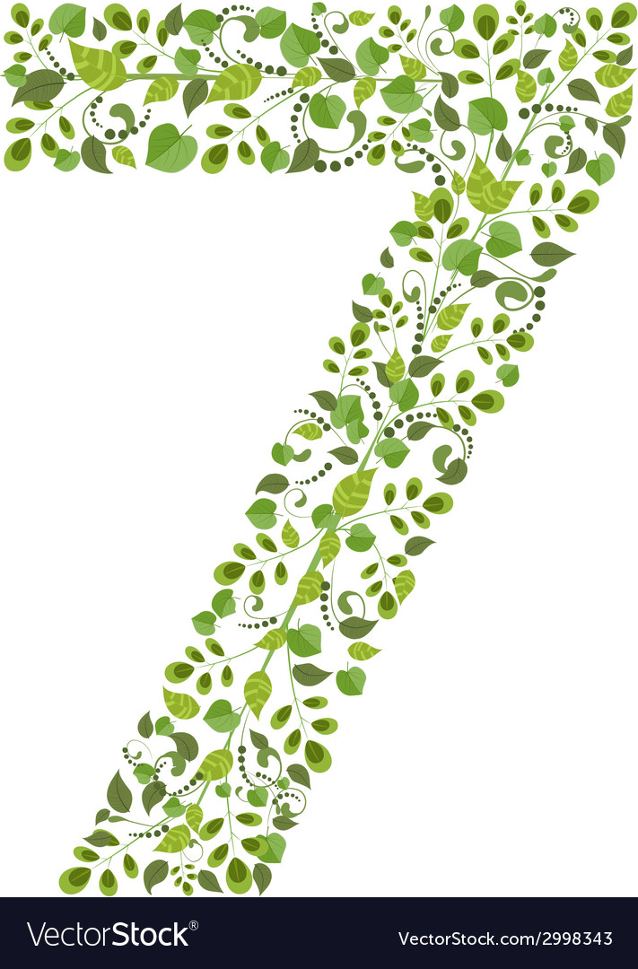 Spring green leaves eco number 7 vector | Price: 1 Credit (USD $1)