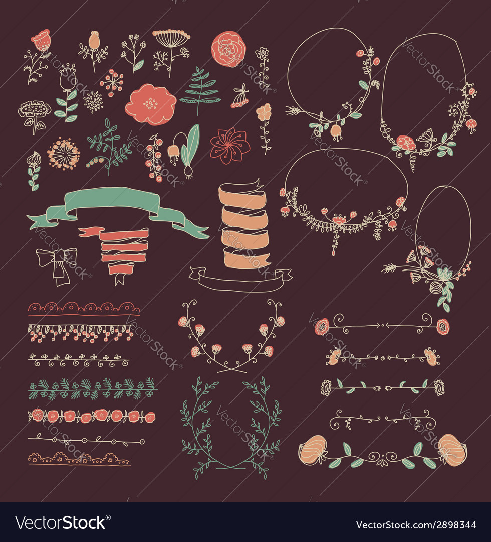 Big set of floral graphic design elements vector | Price: 1 Credit (USD $1)