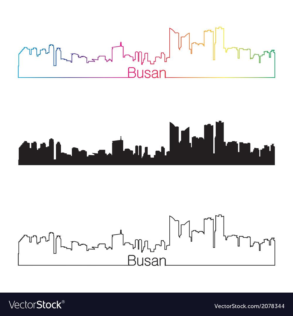 Busan skyline linear style with rainbow vector   Price: 1 Credit (USD $1)