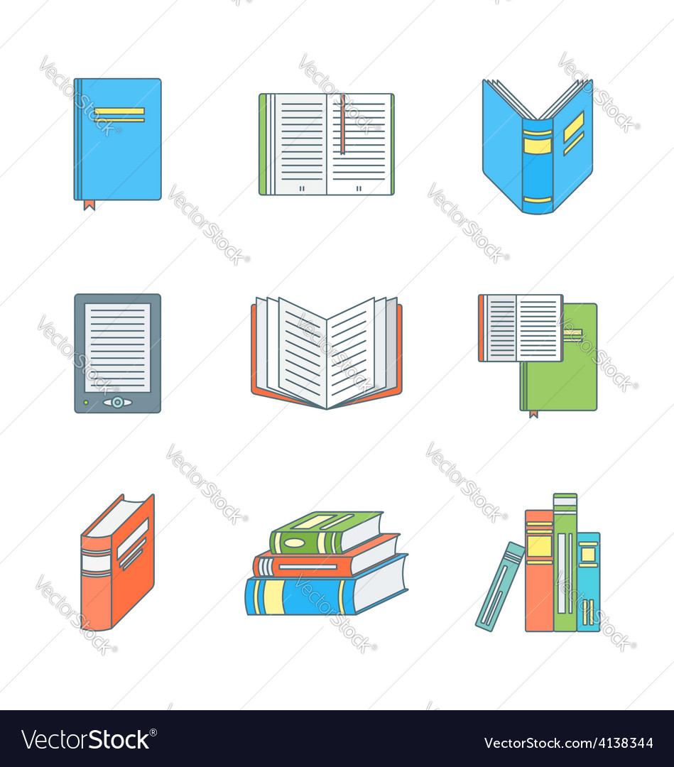 Colored outline books icons set vector | Price: 1 Credit (USD $1)