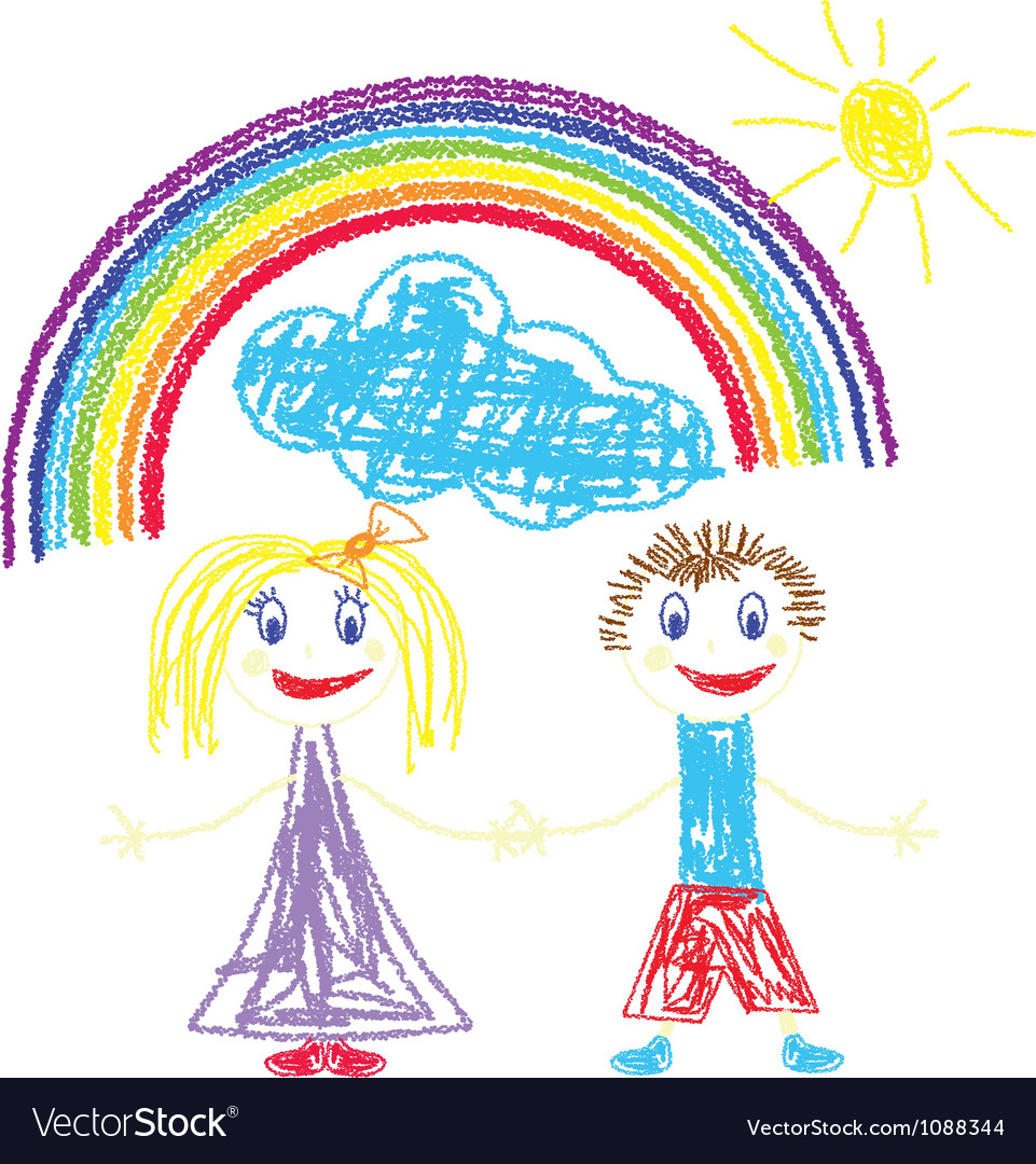 Crayon pained kids and rainbow vector | Price: 1 Credit (USD $1)