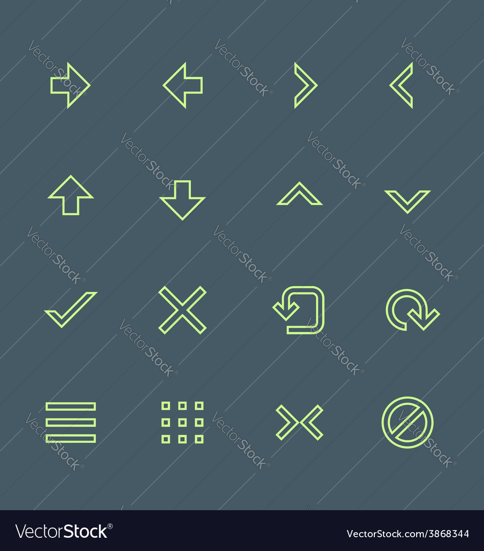 Green outline various navigation menu buttons vector | Price: 1 Credit (USD $1)