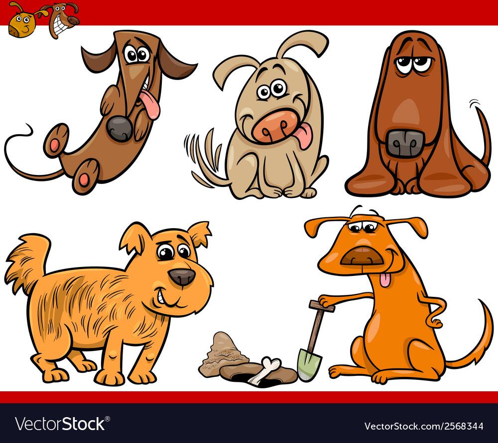 Happy dogs cartoon set vector | Price: 1 Credit (USD $1)
