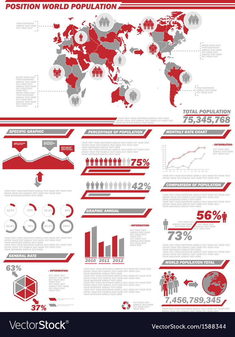 Infographic demographics population 2 red vector | Price: 1 Credit (USD $1)