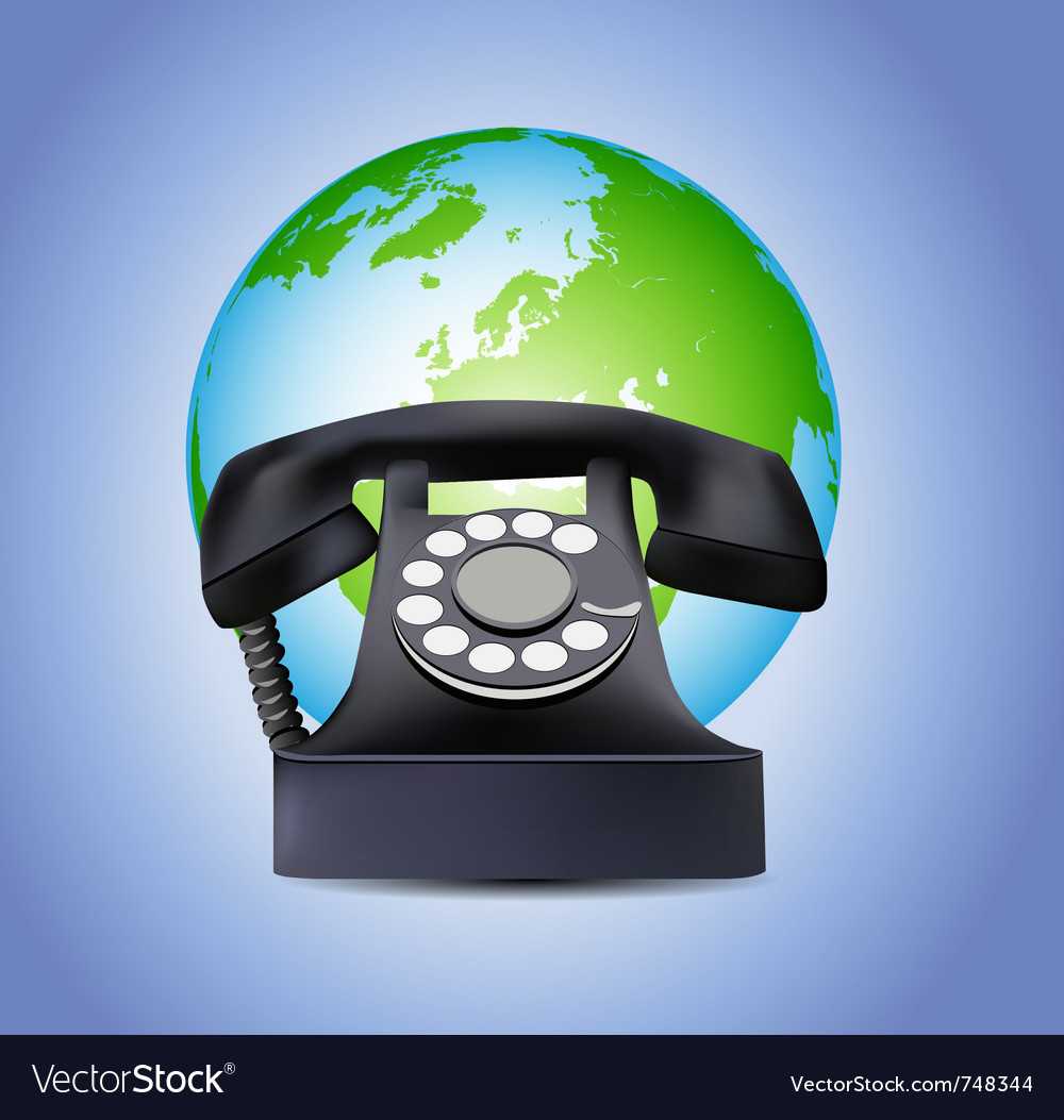 Old telephone and globe vector   Price: 1 Credit (USD $1)