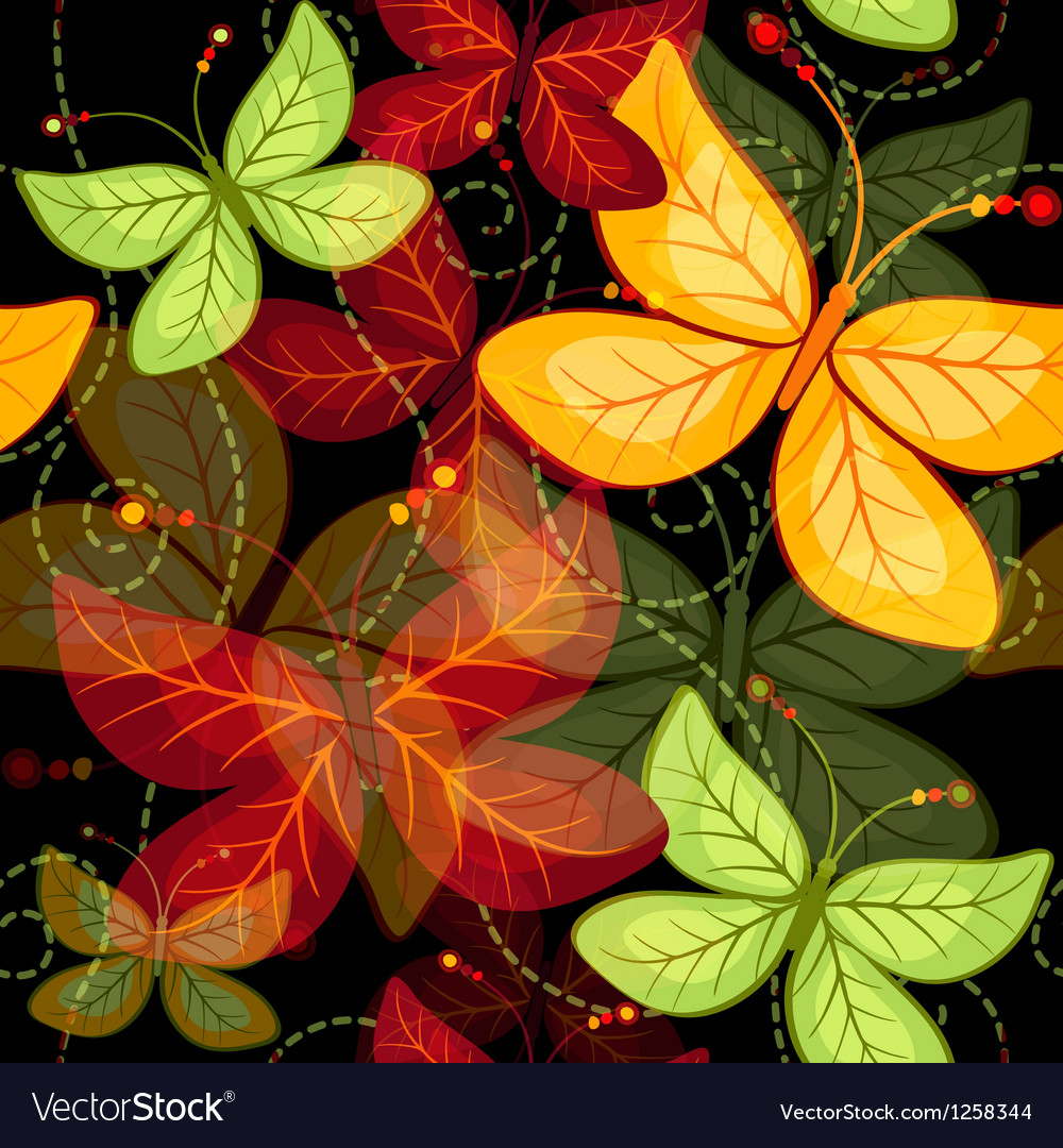 Seamless dark vivid autumn pattern vector