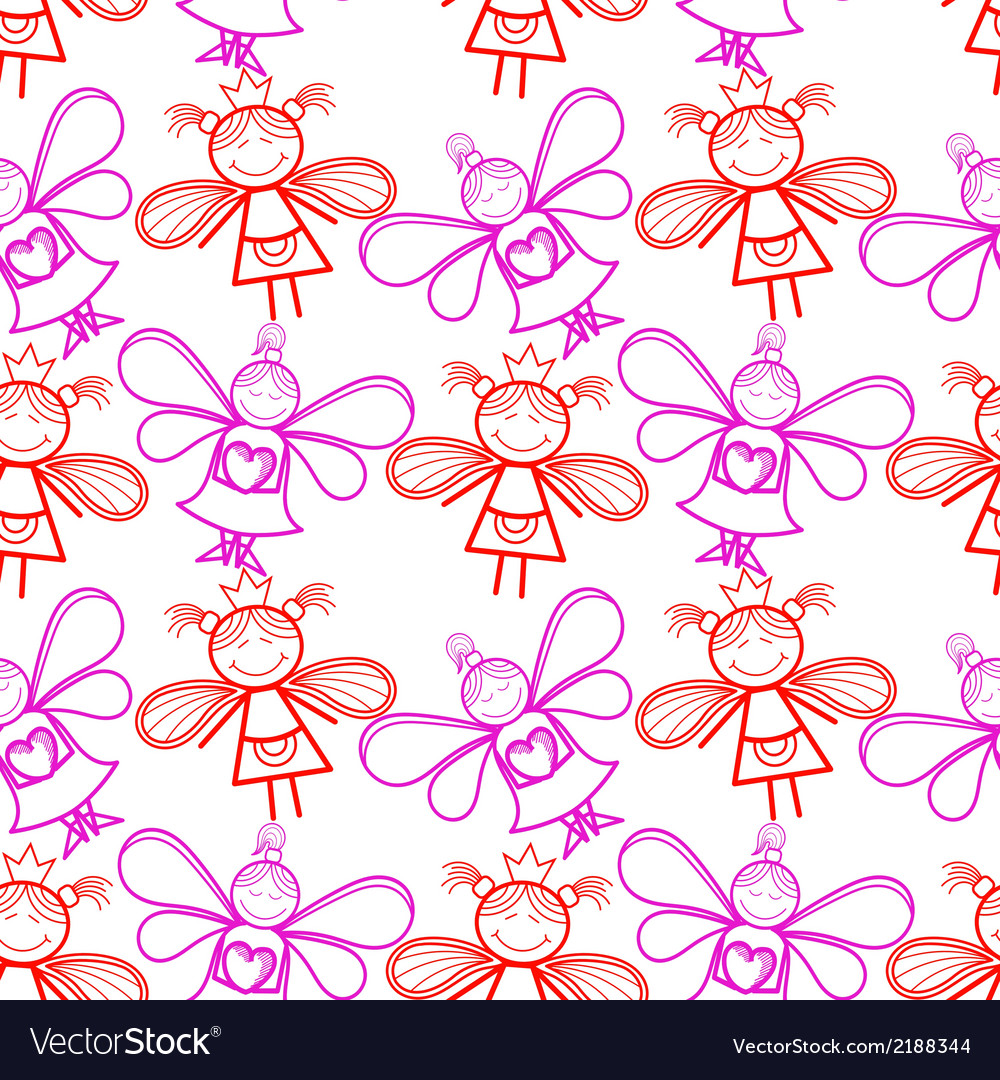 Seamless pattern with little fairies vector | Price: 1 Credit (USD $1)