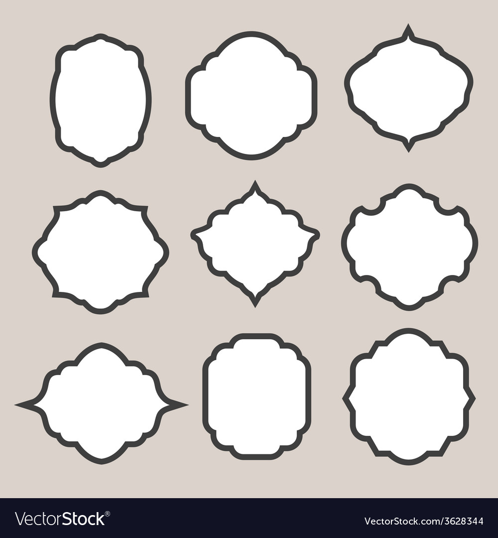 Set of silhouette frames or cartouches for badges vector | Price: 1 Credit (USD $1)