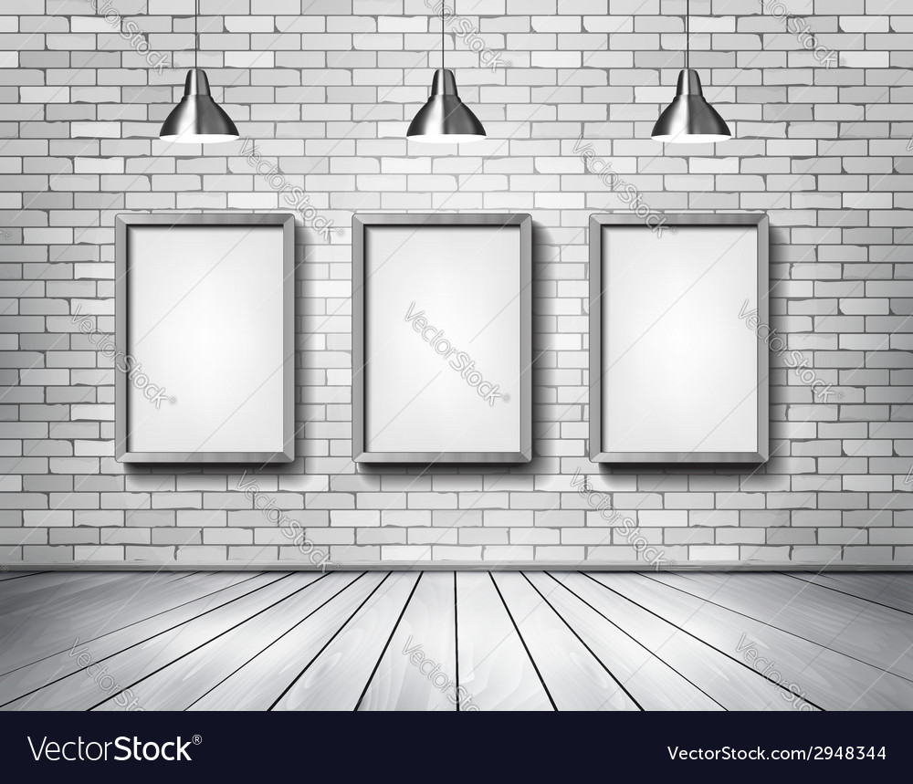 White brick show room with spotlights vector | Price: 1 Credit (USD $1)
