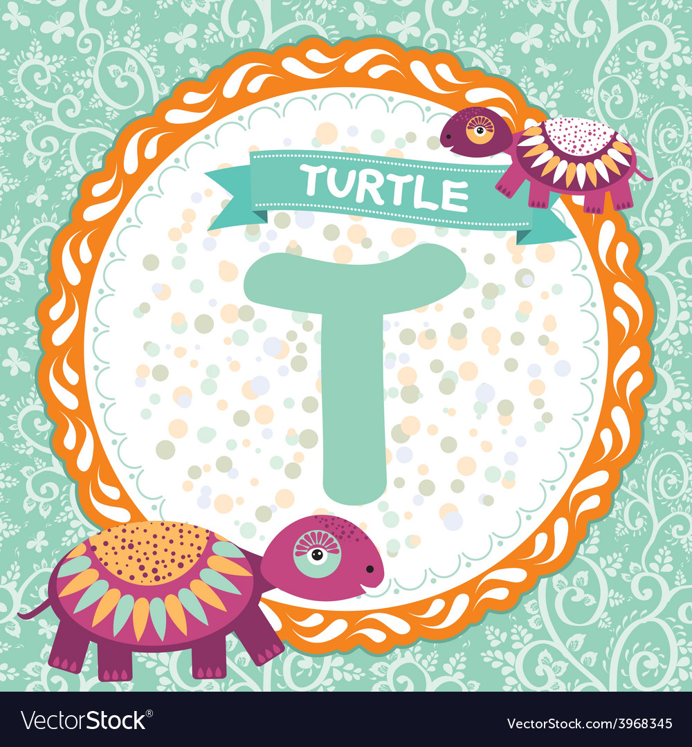 Abc animals t is turtle childrens english alphabet vector | Price: 1 Credit (USD $1)
