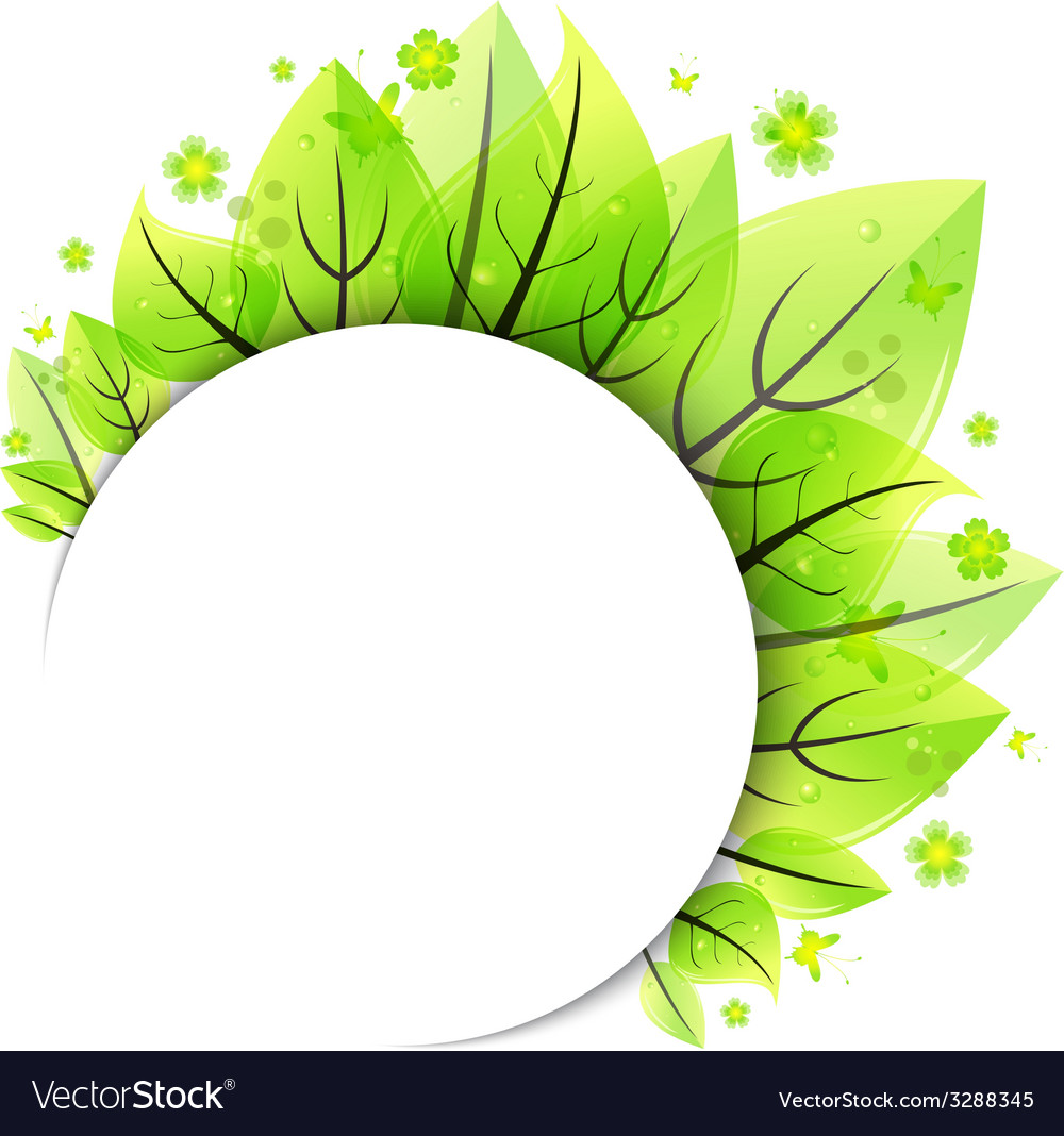 Abstract green leaves banner vector | Price: 1 Credit (USD $1)