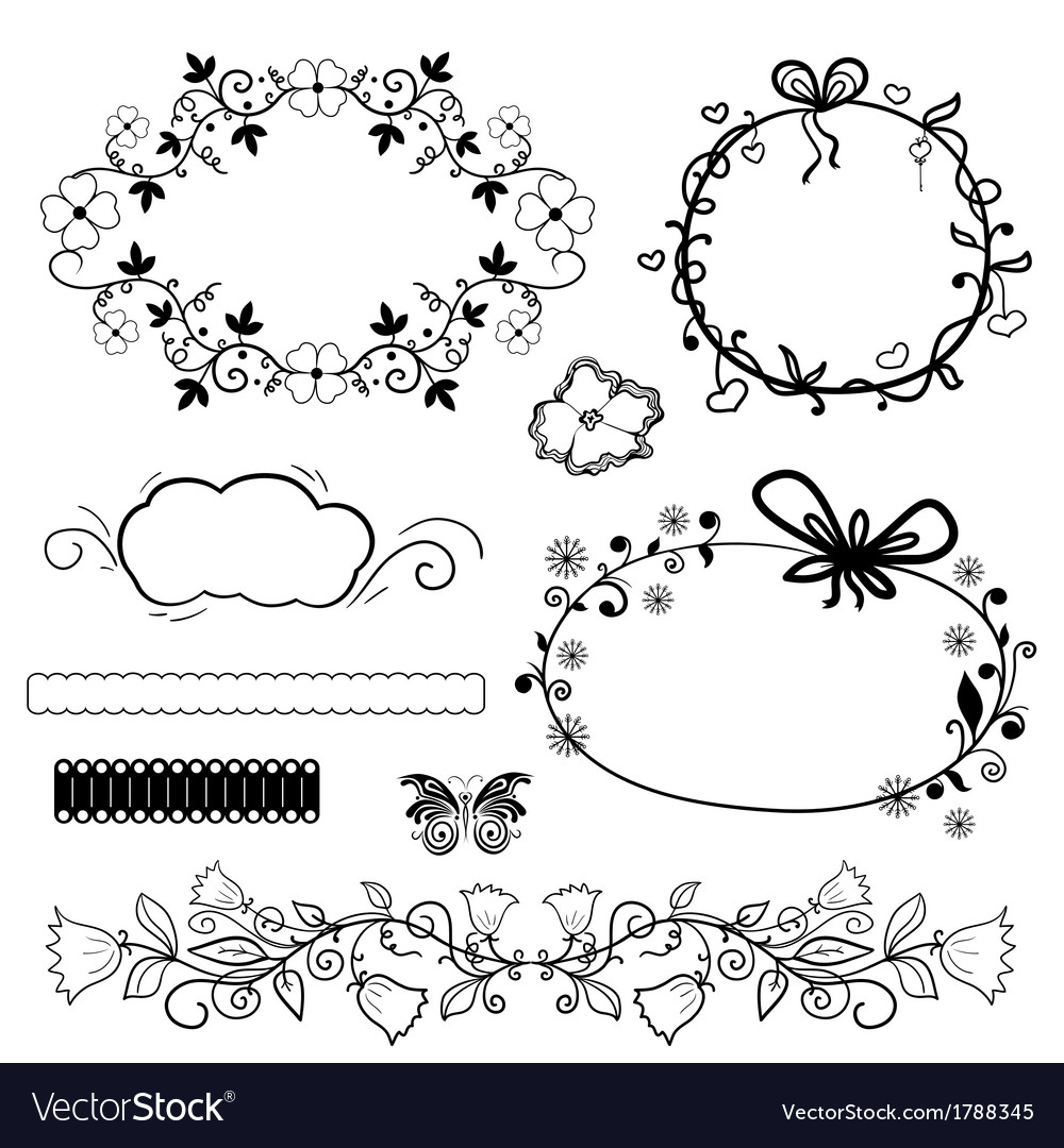 Calligraphic design elements and vintage frame vector | Price: 1 Credit (USD $1)