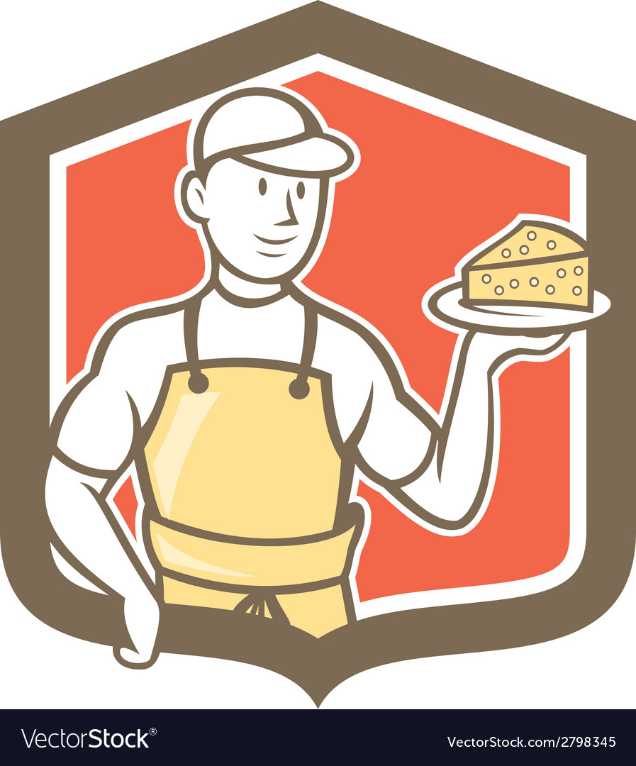 Cheesemaker holding parmesan cheese cartoon vector | Price: 1 Credit (USD $1)