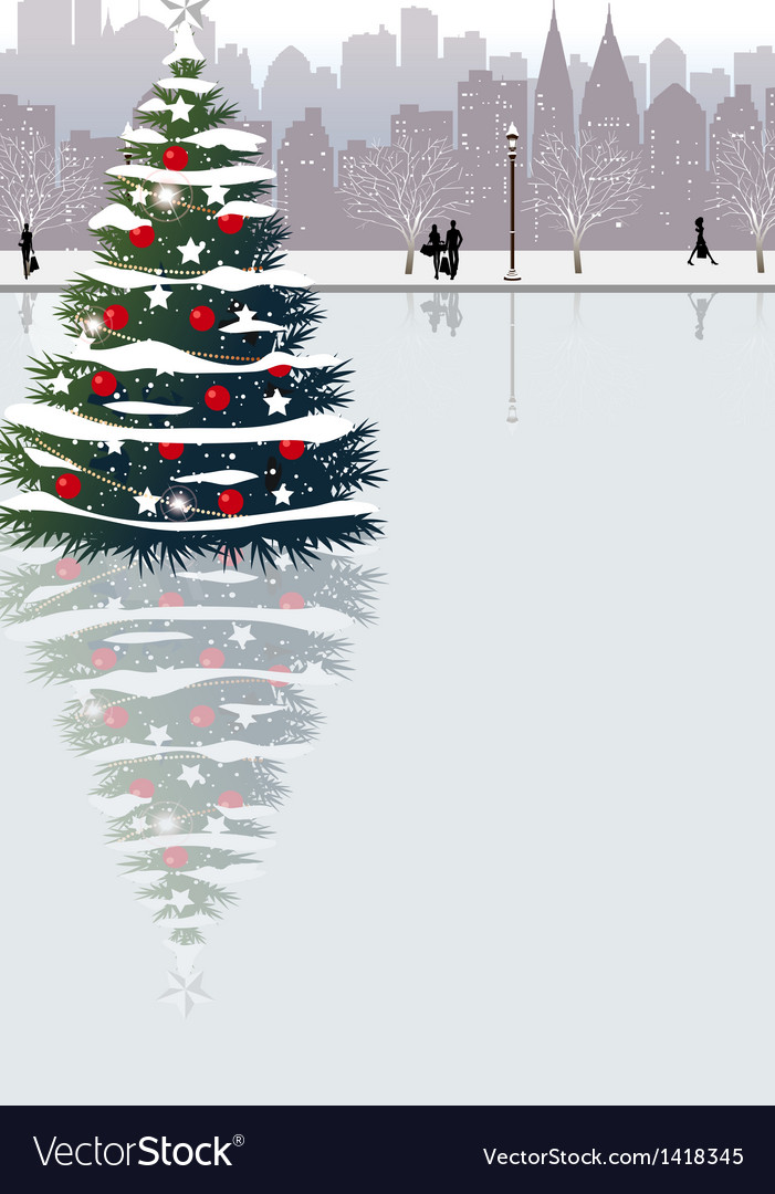 Christmas cityscape vector | Price: 1 Credit (USD $1)