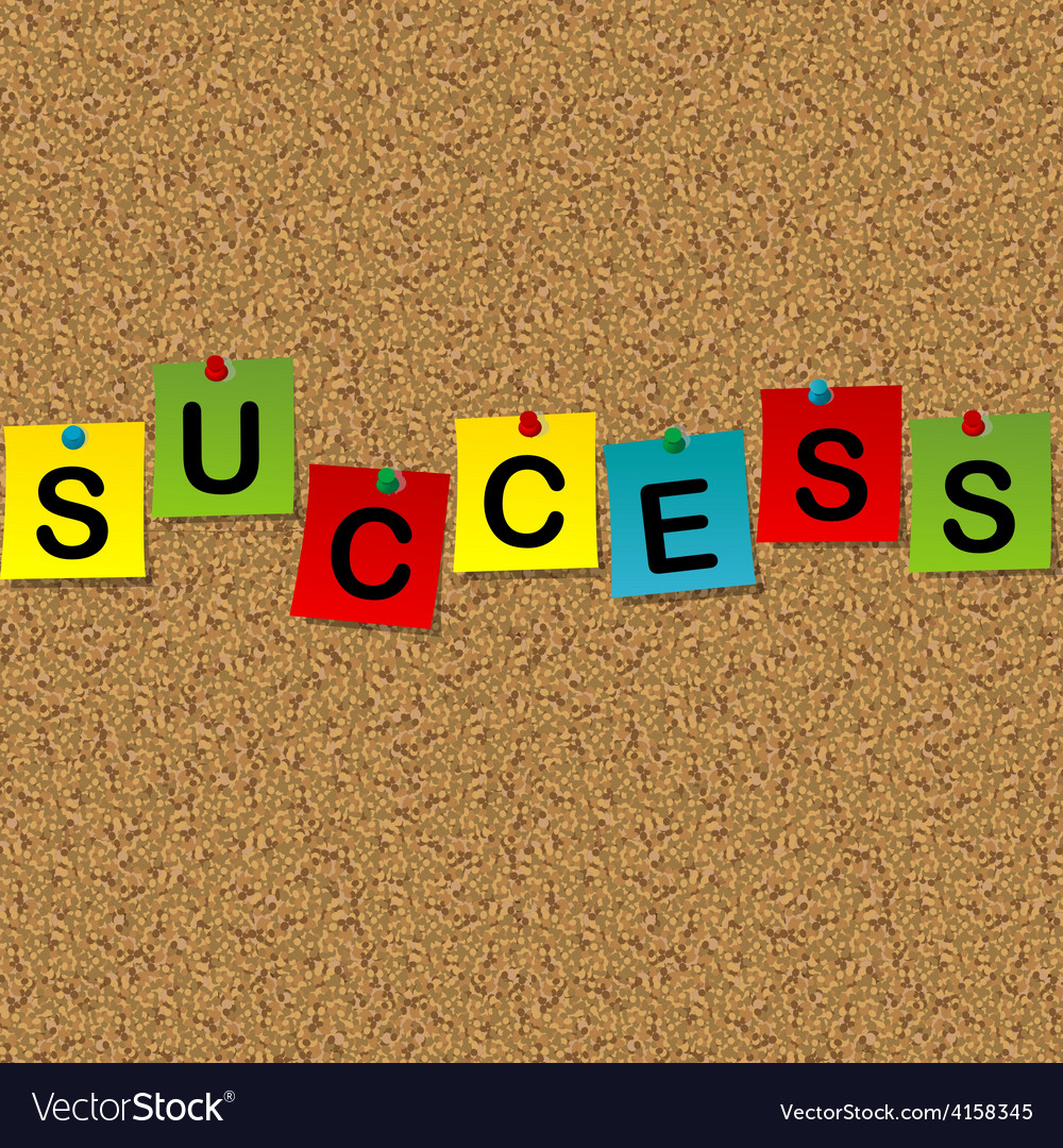 Colored sheets of paper with word success pinned vector | Price: 1 Credit (USD $1)