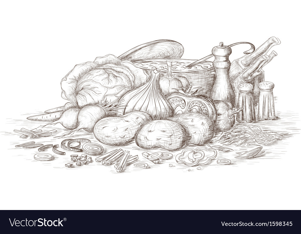 Hand drawn still life food preparing vector | Price: 1 Credit (USD $1)