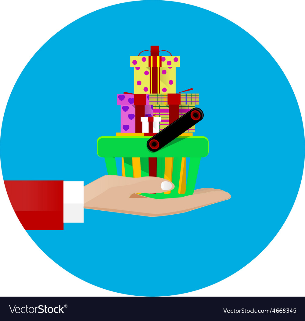 Hand giving a shopping basket vector   Price: 1 Credit (USD $1)