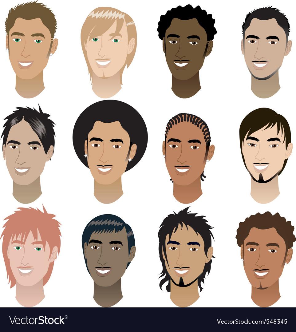 Men faces vector | Price: 1 Credit (USD $1)