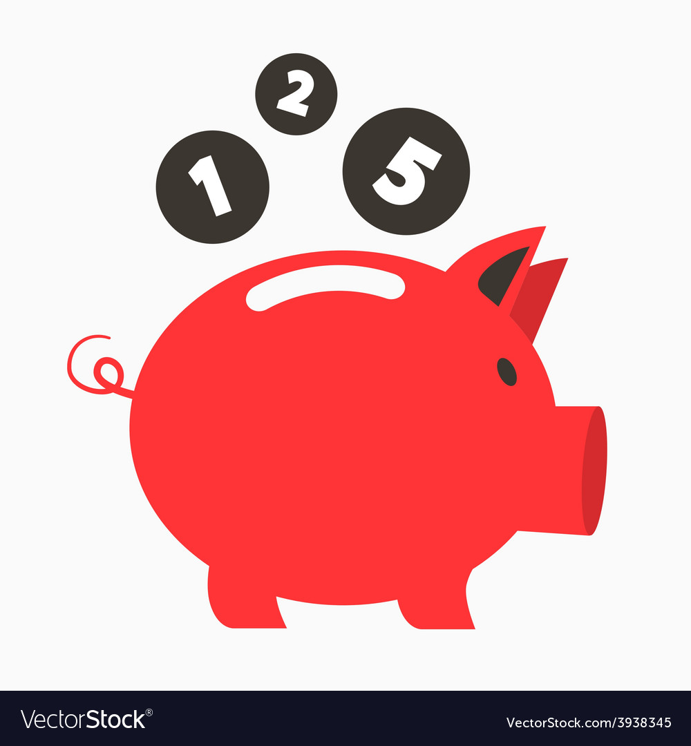 Money red pig bank with coins vector | Price: 1 Credit (USD $1)